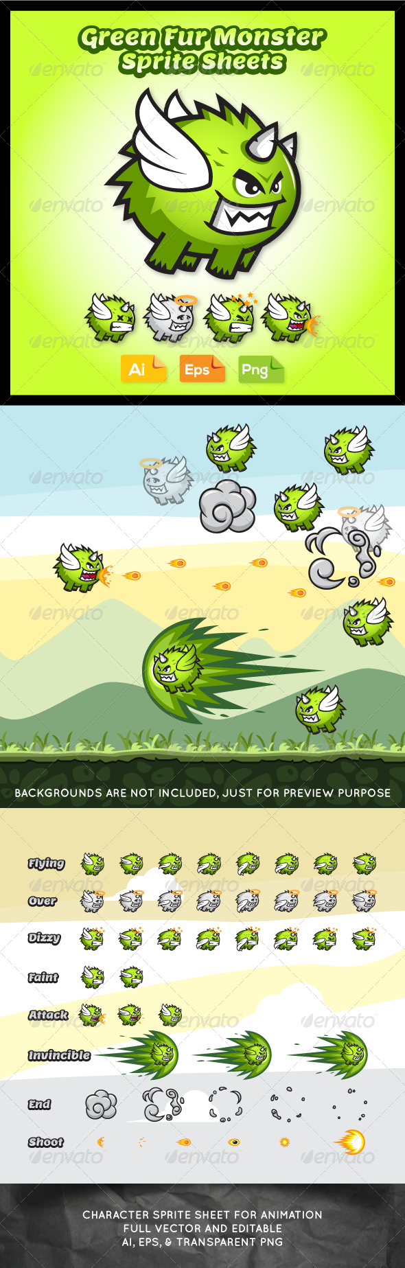 GraphicRiver Villain Game Character Monster Sprite Sheets 7618020