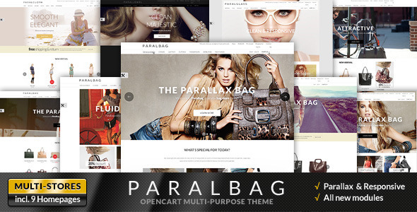 ThemeForest Opencart Fashion Bag Store Parallax 7296247