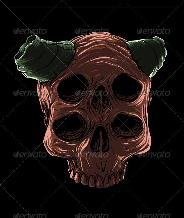 GraphicRiver Red Devil Skull 7619574