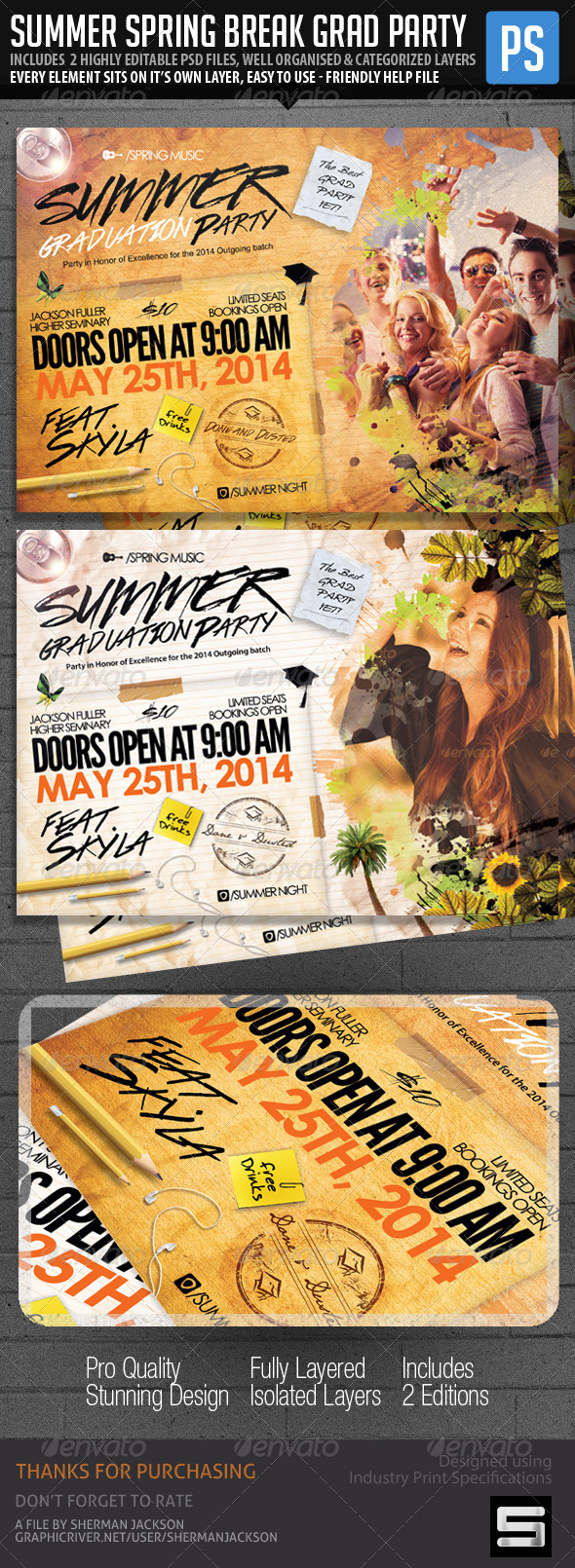 GraphicRiver Summer Graduation & Spring Break Party Flyer 7620878