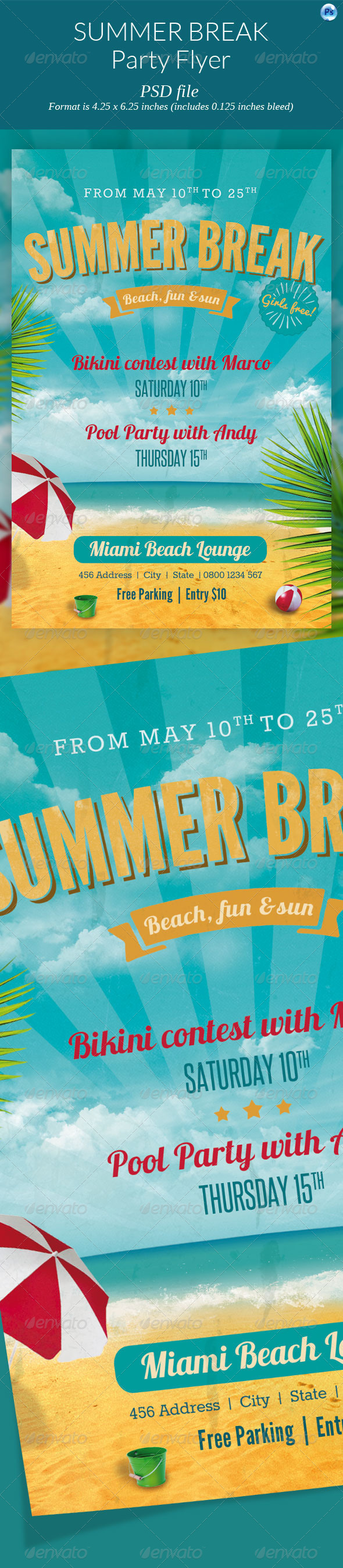 GraphicRiver Summer Break Party Flyer 7620934