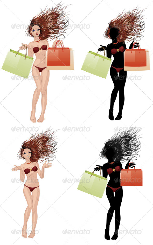 GraphicRiver Bikini Girl Going Shopping 7621521