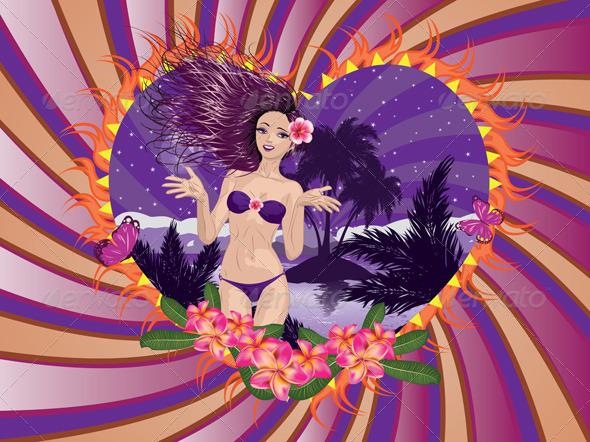 GraphicRiver Island Girl in Violet Bikini 7621965
