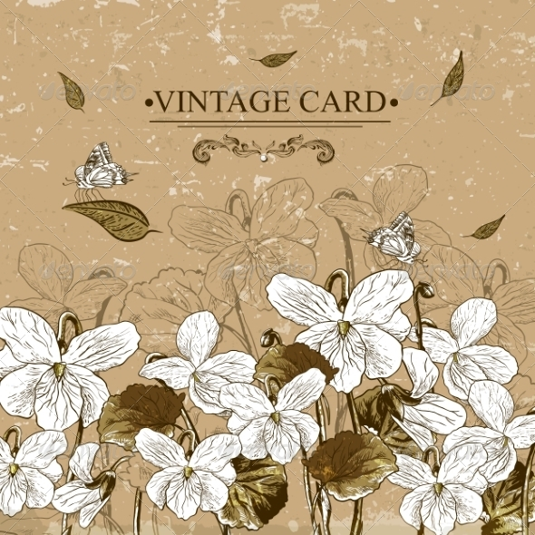 GraphicRiver Vintage Monochrome Floral Card with Violets 7622681