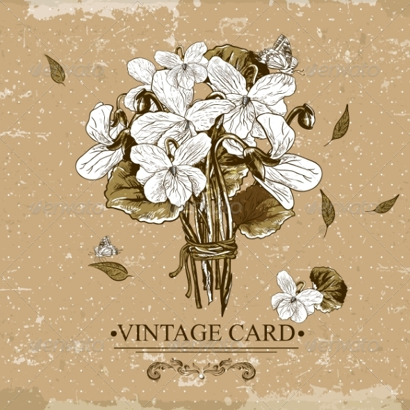 GraphicRiver Vintage Monochrome Floral Card with Violets 7622688
