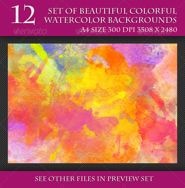 GraphicRiver Set of Beautiful Colorful Watercolor Backgrounds 7609819