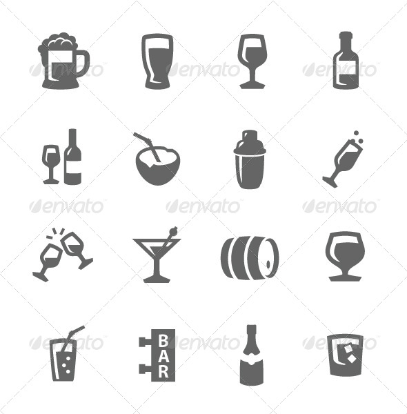 GraphicRiver Alcoholic Beverages Icons 7626935