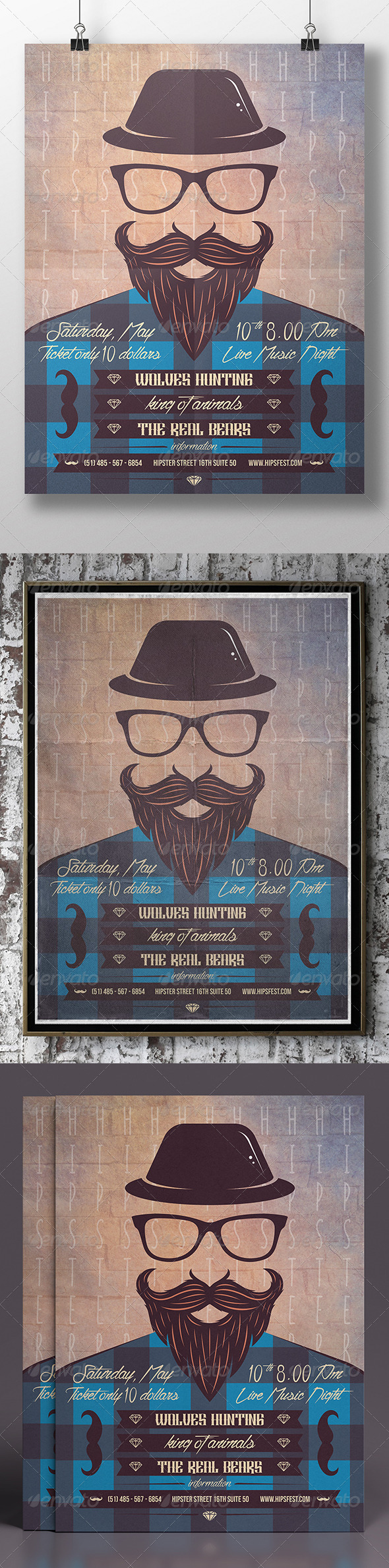 GraphicRiver Hipster Party Flyer 7627247