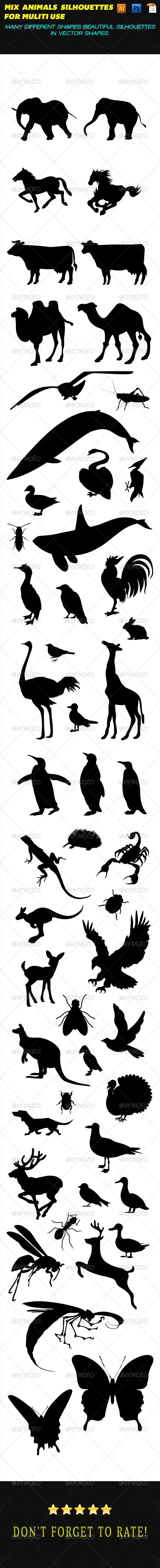 GraphicRiver Mixed Animal Silhouettes 7627893