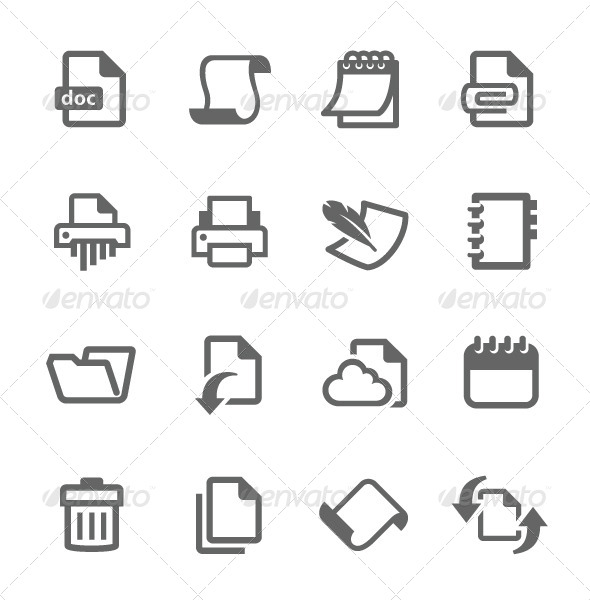 GraphicRiver Document and Papers Icons 7628089