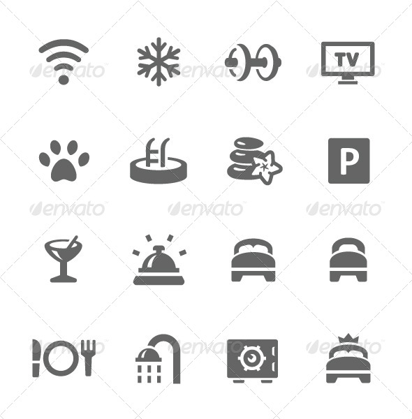 GraphicRiver Hotel Features Icon Set 7628980