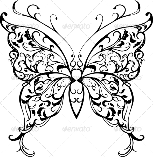 GraphicRiver Pattern Lace Butterfly 7629623