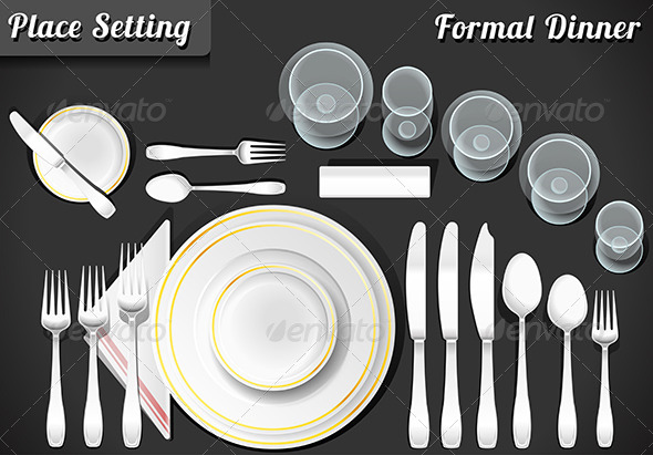GraphicRiver Set of Place Setting Formal Dinner 7629940