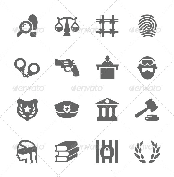 GraphicRiver Law and Justice Icons 7630401