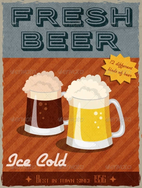 GraphicRiver Beer Retro Poster 7631746