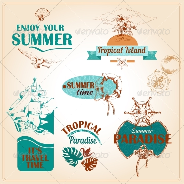 GraphicRiver Summer Vacation Marine Sea Emblems Set 7631763