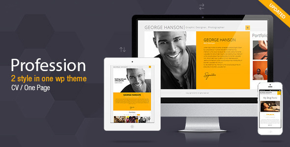 Wordpress Resume profiler vcard resume wordpress theme personal blog magazine Profession One Page Cv Resume Theme By Pixflow Themeforest