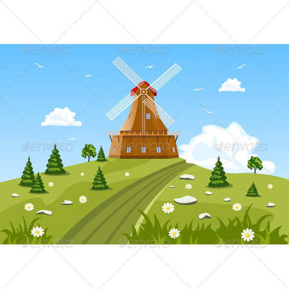 GraphicRiver Green Field and Mill 7634682