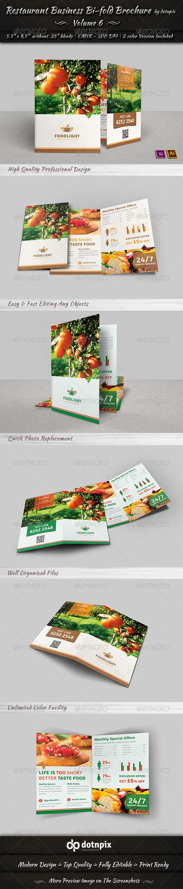 GraphicRiver Restaurant Business Bi-Fold Brochure Volume 6 7634837