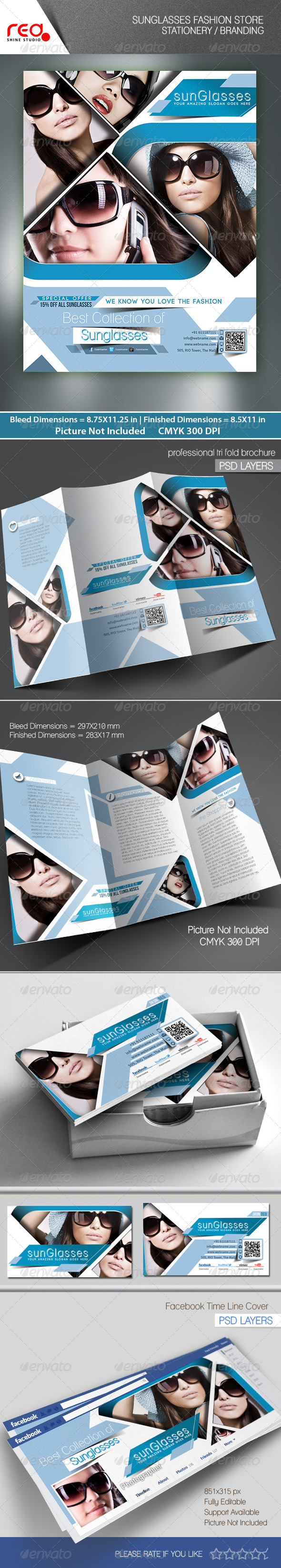 GraphicRiver SunGlasses Fashion Store Branding Bundle 7637380