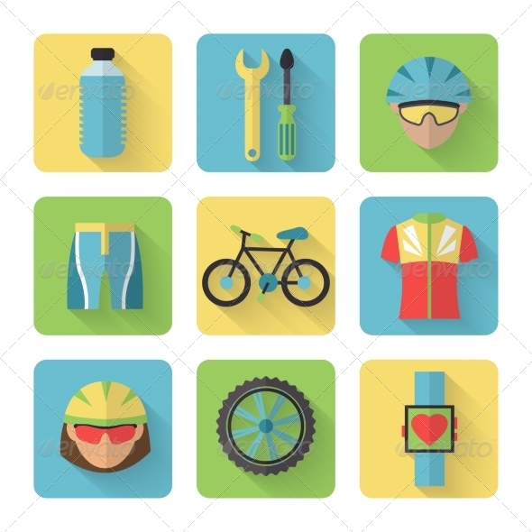 GraphicRiver Bicycle Flat Icons Set 7640110
