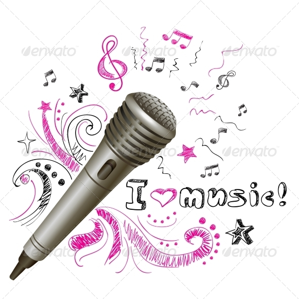GraphicRiver Music Doodle Microphone 7640180