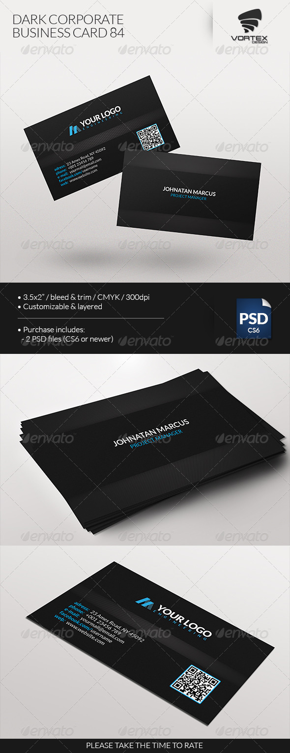 GraphicRiver Dark Corporate Business Card 84 7641512