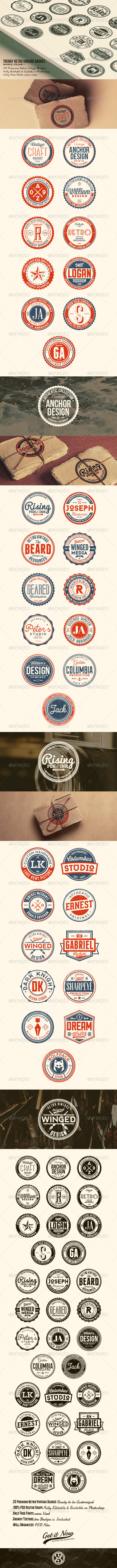 GraphicRiver 33 Trendy Retro Vintage Badges Bundle Volume 1 7641584