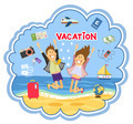 Vacation at the seaside vector illustration - PhotoDune Item for Sale