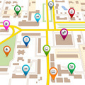 City map with pin pointers - PhotoDune Item for Sale