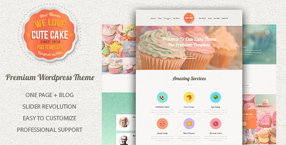 Template Wordpress Cake Design : Cute Cake - Responsive One Page Wordpress Theme by ...
