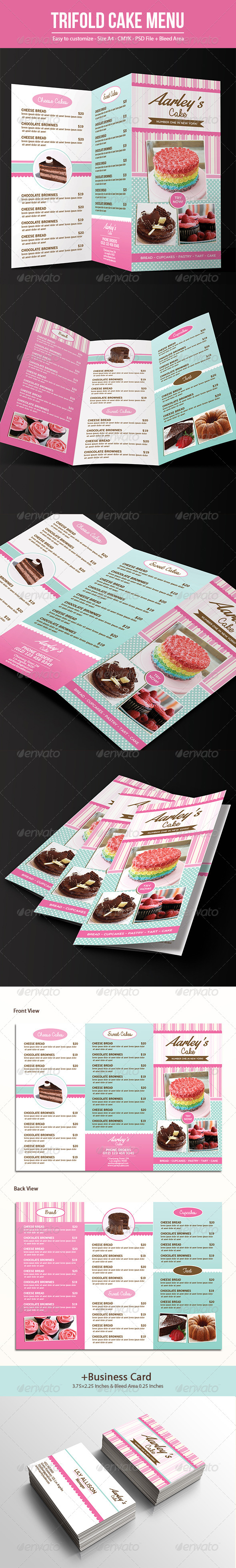GraphicRiver Trifold Cake Menu & Business Card 7642416