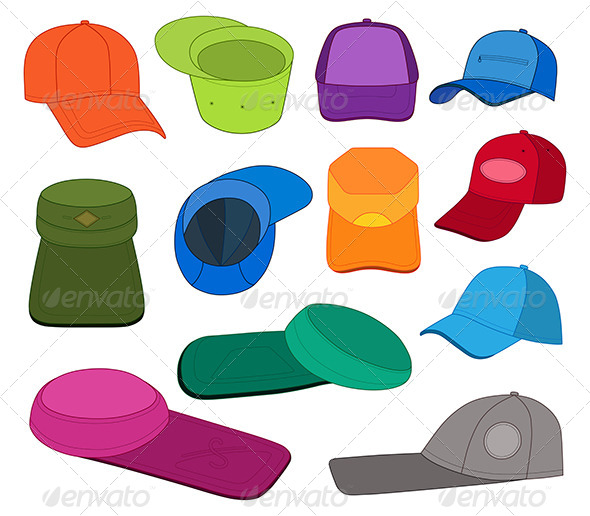 GraphicRiver Cap Template Colored Set 7642647