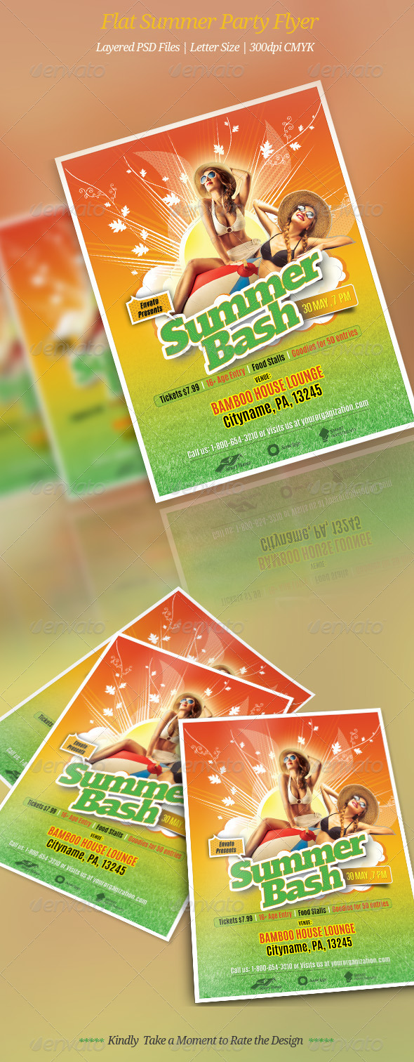 GraphicRiver Flat Summer Party Flyer 7643702