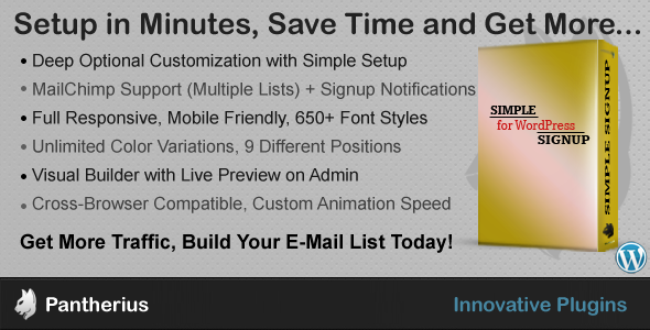 CodeCanyon Simple Signup WordPress Email Subscription Form 7644126