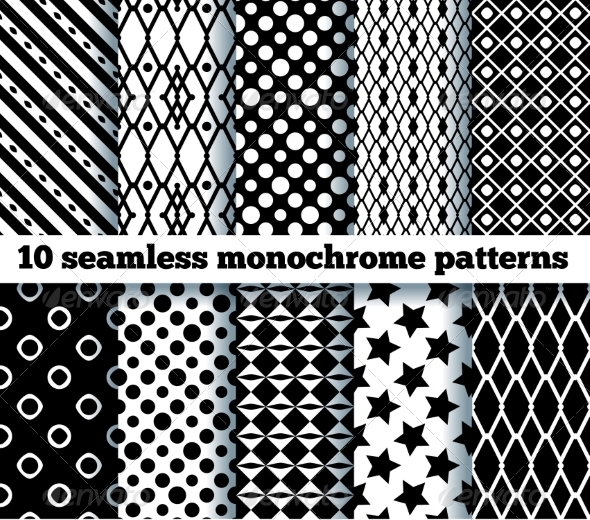 GraphicRiver 10 Seamless Monochrome Patterns 7645425