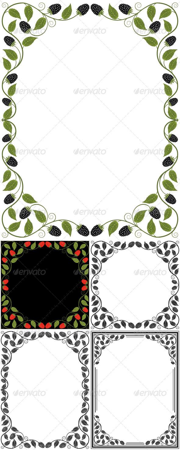 GraphicRiver Set of Vintage Floral Frames 7646618