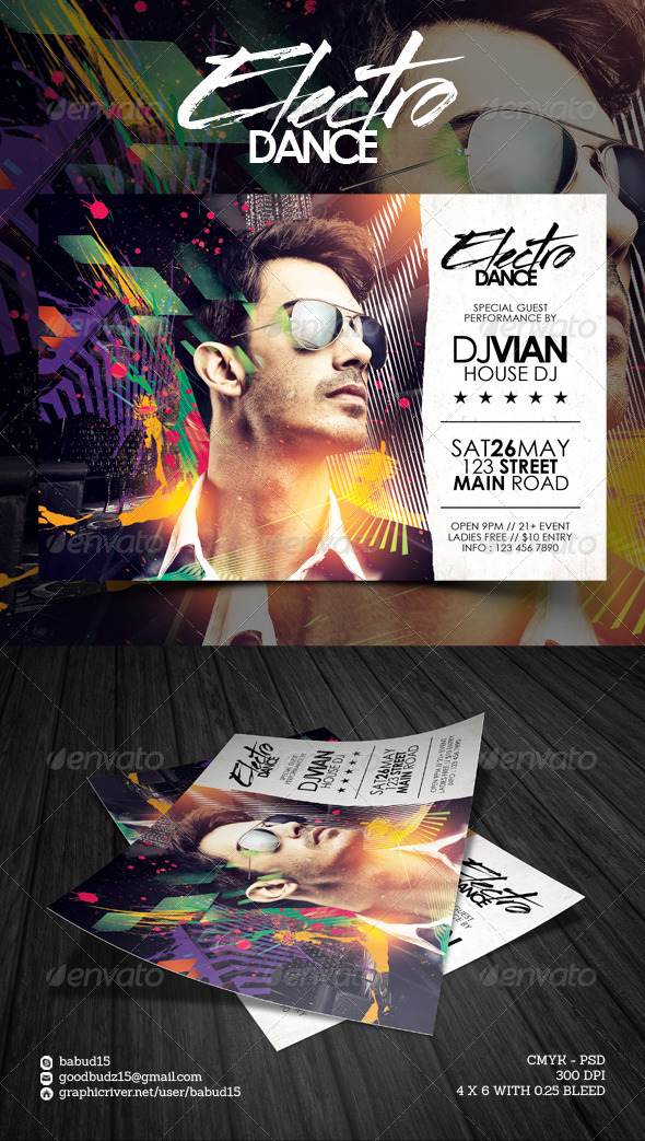GraphicRiver Electro Dance Flyer Template 7646134
