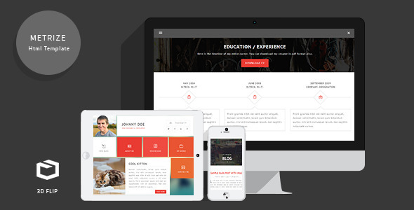 ThemeForest Metrize Responsive Flipcard Template 7415882