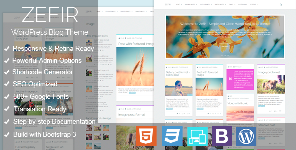 ThemeForest Zefir Simple and Clean WordPress Blog Theme 7650213