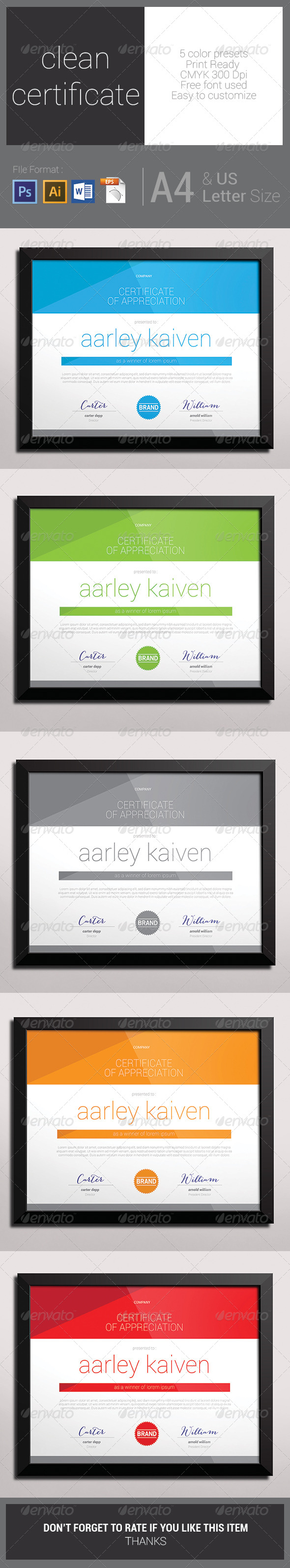 GraphicRiver Clean Certificate 7650378
