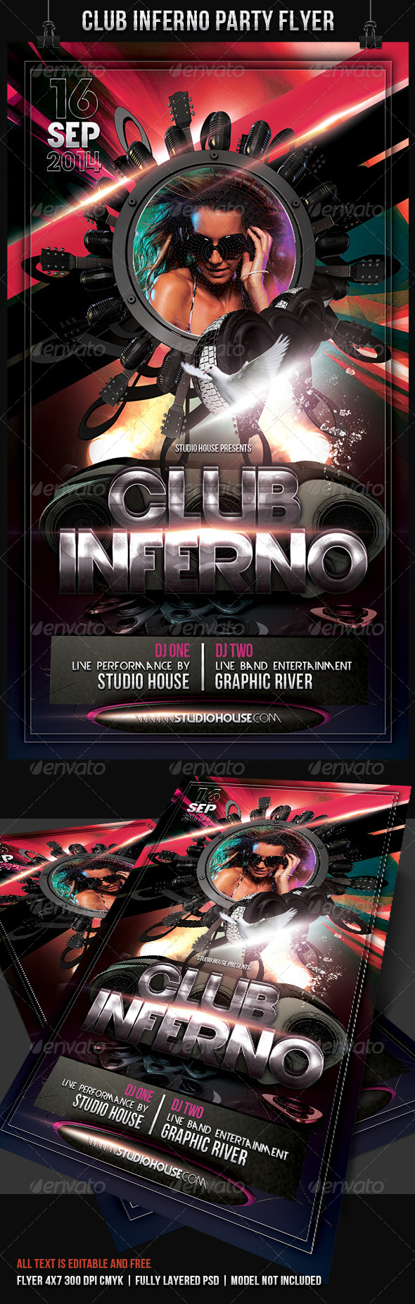 GraphicRiver Club Inferno Party Flyer 7646739