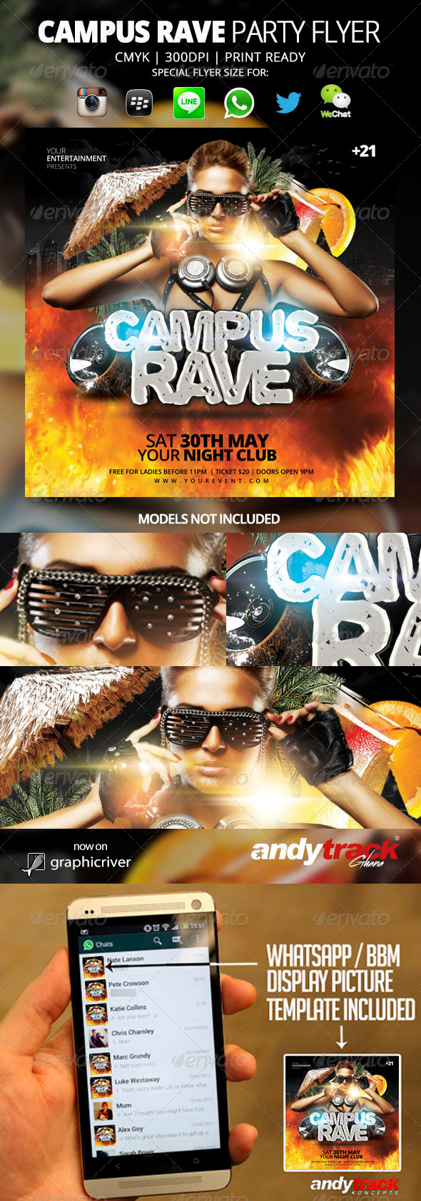 GraphicRiver Campus Rave Flyer Template 7650637