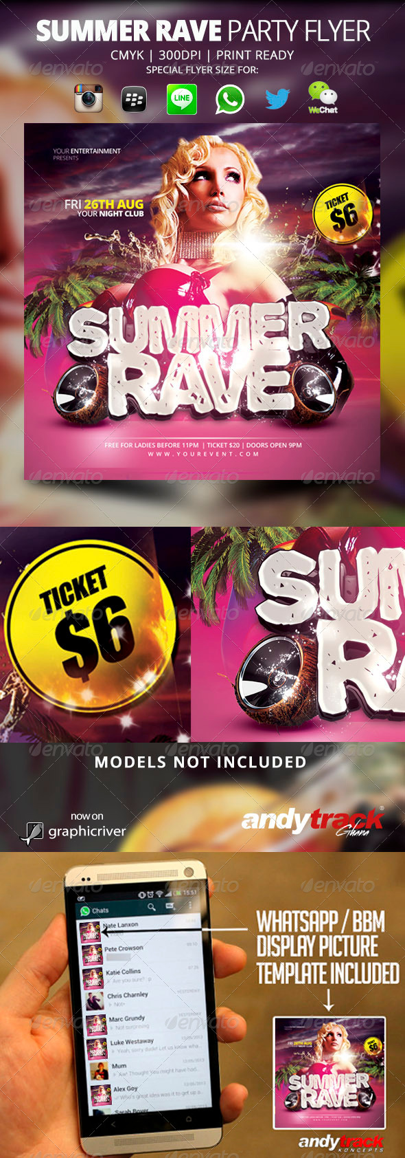 GraphicRiver Summer Rave Flyer Template 7650662