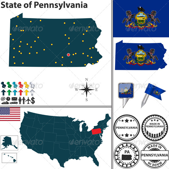 GraphicRiver Map of State Pennsylvania USA 7651040