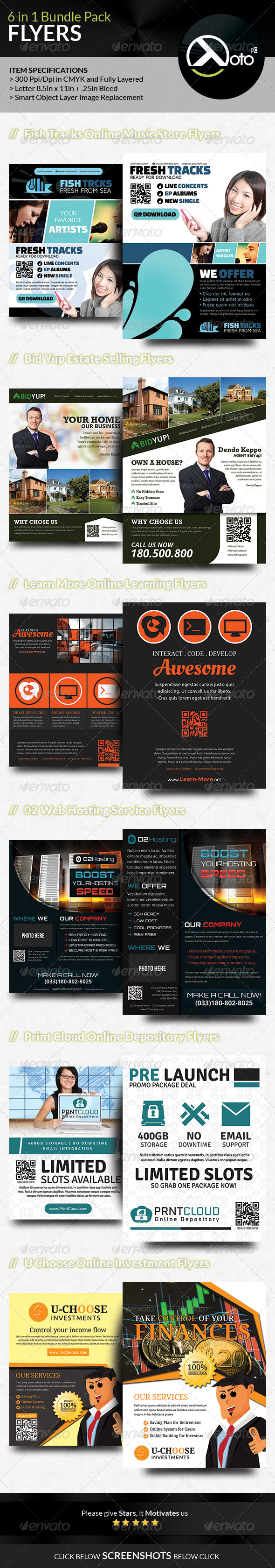 GraphicRiver 6 in 1 Mix Flyer Bundle Set 3 7651068