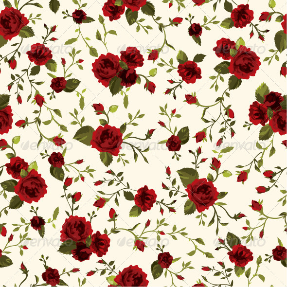 GraphicRiver Seamless Floral Pattern with Red Roses 7652062