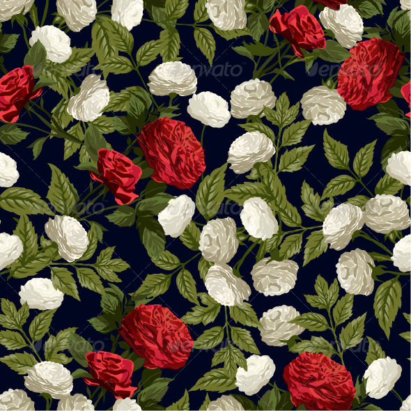 GraphicRiver Seamless Floral Pattern with Red and White Roses 7652108