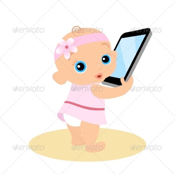 GraphicRiver Little Girl is Playing with Smartphone 7652700