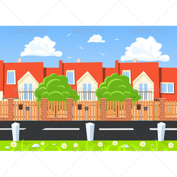 GraphicRiver Houses in a Row Beside the Road 7653067